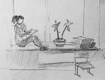 Meisje op venster, schets van potlood Royalty-vrije Stock Afbeeldingen