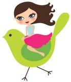 Meisje op vogel Stock Foto