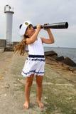Meisje op zee Stock Fotografie