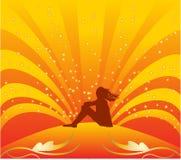 Meisje op zon Stock Foto