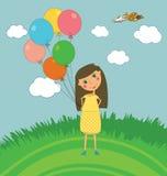Meisje in openlucht met Ballons Stock Foto's