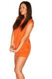 Meisje in Oranje kleding royalty-vrije stock foto's