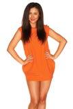 Meisje in Oranje kleding royalty-vrije stock fotografie