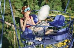 Meisje ot de Carrousel Stock Afbeelding