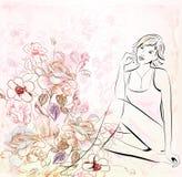 Meisje over bloemenachtergrond Stock Fotografie