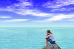 Meisje over oceaan Royalty-vrije Stock Foto's