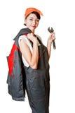 Meisje in overtrekken met moersleutel Royalty-vrije Stock Foto