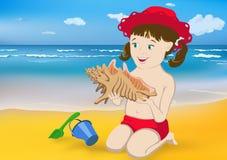 Meisje, overzees en shell Stock Fotografie