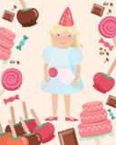 Meisje in Partijhoed met Suikergoed door Snoepjes wordt omringd dat royalty-vrije illustratie