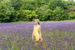 Meisje in purpere bloemen in openlucht in de zomer Stock Foto