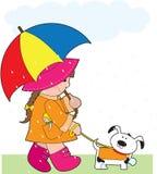 Meisje in Regen stock illustratie
