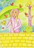 Meisje in regen Royalty-vrije Stock Afbeelding