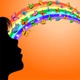 Meisje, regenboog en vlinders Stock Afbeelding