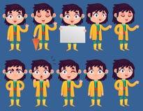 Meisje in Regenjasreeks Stock Foto