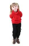 Meisje in rode cardigan Stock Afbeeldingen