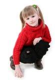 Meisje in rode cardigan Royalty-vrije Stock Afbeeldingen