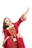 Meisje in rode kleding stock afbeelding