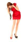 Meisje in rode kleding Stock Fotografie