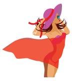 Meisje in rode pareo Royalty-vrije Stock Afbeelding