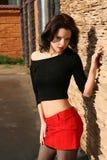 Meisje in rode rok Stock Afbeelding