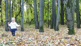 Meisje in rok met appelgangen in de herfst stock videobeelden