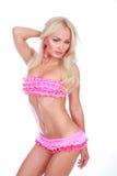 Meisje in roze bikini Stock Fotografie