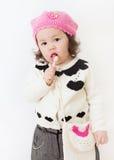 Meisje in Roze Hoed met Lolly Stock Foto