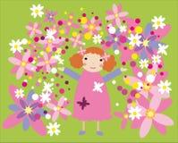 Meisje in roze kleding en bloemen Royalty-vrije Illustratie
