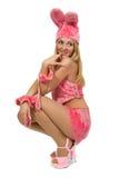 Meisje in roze kostuum. royalty-vrije stock fotografie