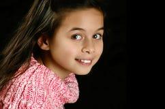 Meisje in roze verbindingsdraad stock afbeelding
