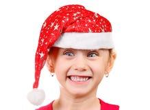 meisje in santahoed Stock Foto's