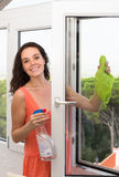 Meisje schoonmakende vensters stock afbeeldingen