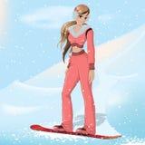 Meisje snowboard Royalty-vrije Stock Afbeelding