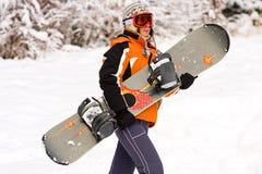 Meisje - snowboarder Royalty-vrije Stock Afbeelding