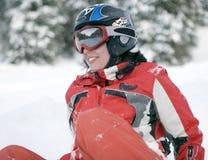 Meisje snowboarder stock foto