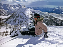 Meisje snowborder stock afbeeldingen