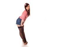 Meisje speld-op het stileren Stock Foto