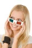 Meisje in stereoglazen Stock Foto