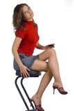 Meisje. stoel. drank. Stock Fotografie