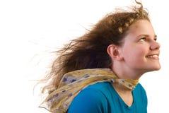 Meisje tegen de wind Stock Fotografie