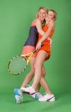 Meisje-tennis-spelers in studio stock afbeeldingen