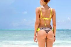 Meisje terug bij het strand Royalty-vrije Stock Foto's