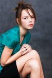 Meisje in turkooise blouse Royalty-vrije Stock Foto's