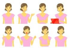Meisje, uitdrukkingen, reeks vector illustratie