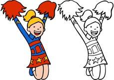 Meisje in Uitrusting Cheerleader vector illustratie