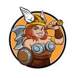 Meisje van beeldverhaal het barbaarse Viking Royalty-vrije Stock Afbeeldingen