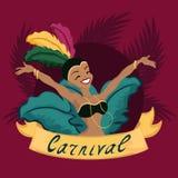 Meisje van beeldverhaal het Braziliaanse Carnaval royalty-vrije illustratie