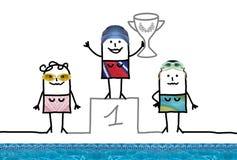 Meisje van de beeldverhaal het Zwemmende Kampioen op Podium met Kop stock illustratie