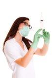 Meisje van de Doktor het medische die gezondheidszorg op wit medisch personeel wordt geïsoleerd als achtergrond nurce Royalty-vrije Stock Foto