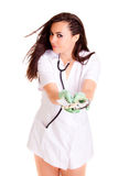 Meisje van de Doktor het medische die gezondheidszorg op wit medisch personeel wordt geïsoleerd als achtergrond nurce Stock Foto's